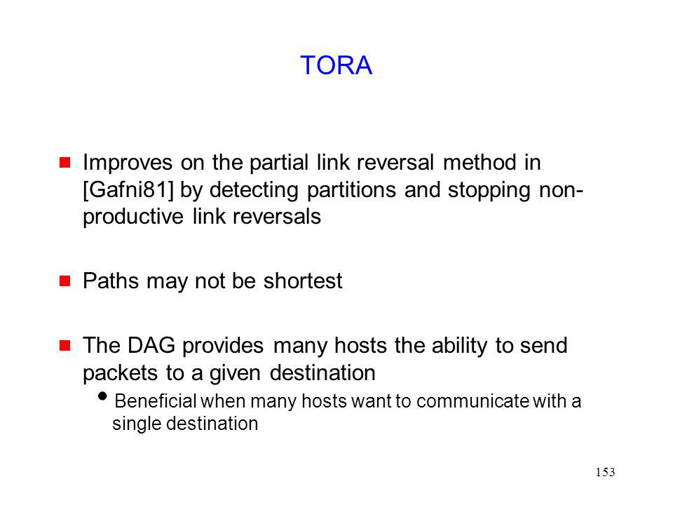 TORA Improves on the partial link reversal method in [Gafni81] by detecting partitions and stopping non-productive link reversals.